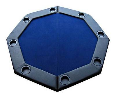 Padded Octagon Folding Poker Table Top w Cup Holders in Blue [ID 59344]