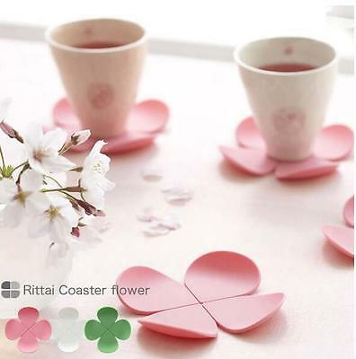 Japan Sakura Silicone Table Place Mat Coaster 4 Clover Placement Pad Cup Cushion