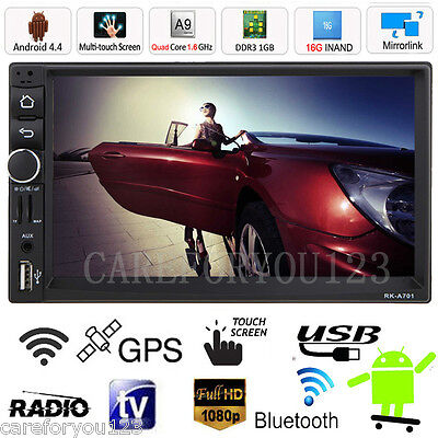 """7"""" Car GPS Nav Double 2 Din Android Bluetooth Stereo MP3 MP5 Player USB FM Radio"""