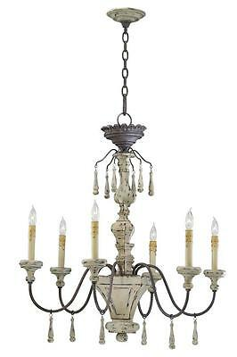 IRON & DISTRESSED WOOD 6 Light Chandelier, Provence FRENCH Antique Farmhouse New