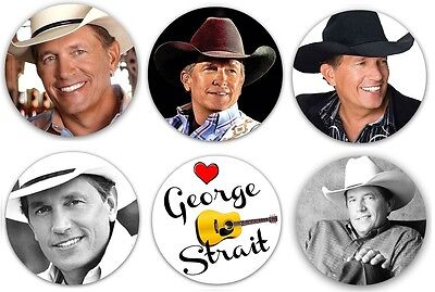 "George Strait Pinback Buttons or Fridge Magnets 1.25"" Set Of 6 Different Country"
