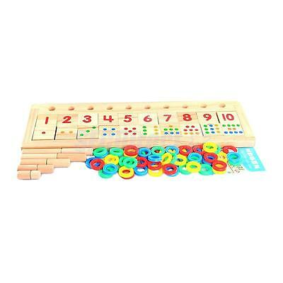 Wooden Count & Match Numbers 75 pcs Math Teaching Counting Aid Learning Toy