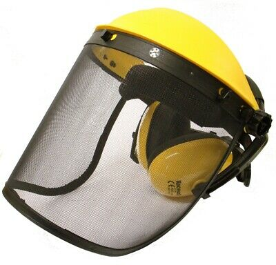 Rocwood Face Guard Visor with Ear Defenders Mesh or Poly Strimmer Brushcutter