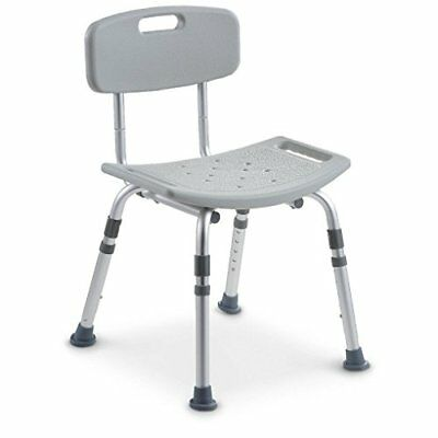 Deluxe Height Adjustable Aluminium Bath Bench / Shower Chair With Back #2OZ