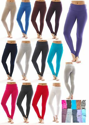 Thermo Fleece hoher Bund mit Steg Leggings Baumwolle Leggins lang Hose warm