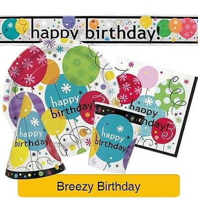 BREEZY BIRTHDAY Party Range - Tableware Balloons Banners & Decorations