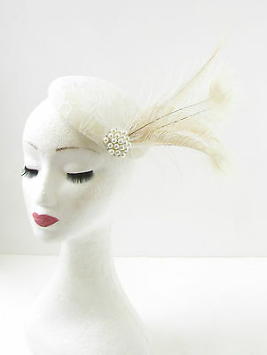 Ivory Cream Peacock Feather Fascinator Headpiece Hair 1920s Hat Races Vtg 296