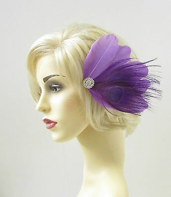 Purple Silver Peacock Feather Fascinator Hair Clip Diamante Headpiece Races 298