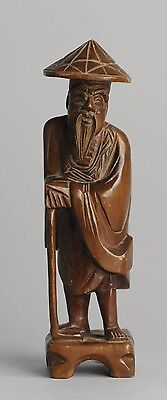 Lovely! Chinese Antique Wooden Carved Statue 'Man with Walking Stick'