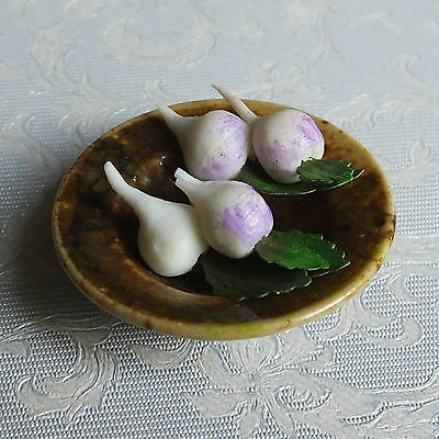 Dolls house miniatures: plate of turnips