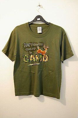 "US-Kinder T-Shirt oliv ""My Favorite color is camo"" Gr. S Neu / Sonderpreis!"