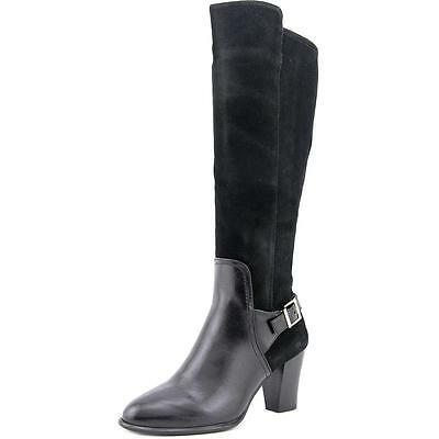 Alfani Careeni Wide Calf Women  Round Toe Leather Black Knee High Boot