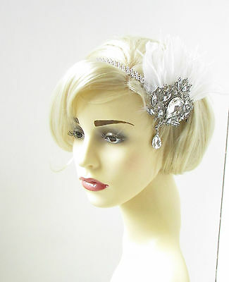 White Silver Feather Headpiece Vintage Headband Flapper 1920s Great Gatsby 302