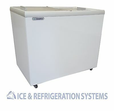 """Metalfrio 41"""" Commercial Flat Top Glass Novelty Ice Cream Freezer Chest Msf41"""