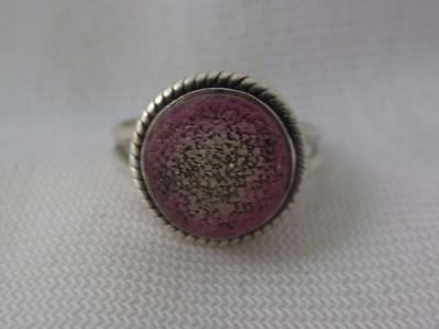 Handmade Sterling Silver Ring W/ Round Amethyst Druzy Stone - Size 6.25