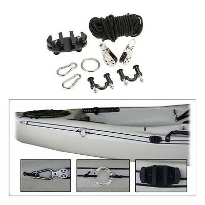 Kayak Anchor Trolley Cleat Kit Set With Well Nuts Screws Rivets AL J6D1