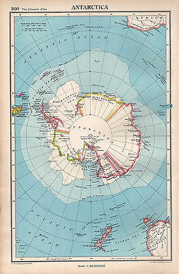 1952 Map ~ Antarctica ~ South Pole With Expeditions Explorers