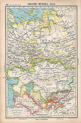 1952 Map ~ Asiatic Russia West Russian Socialist Federated Soviet Kazak Turkmen