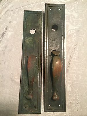 "2 Vintage Old Antique Bronze Sargent & Co Door Knob And Backplate Push 20"" X 4"""