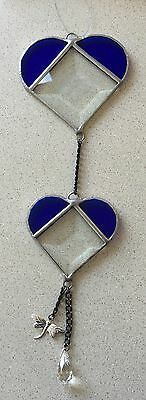 Handmade Stained glass Blue Bevelled hearts..suncatchers...Great gift idea...#7