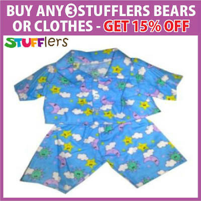 BLUE FLANNELETTE PJS pajamas Clothing by Stufflers – Will fit on a Build a bear
