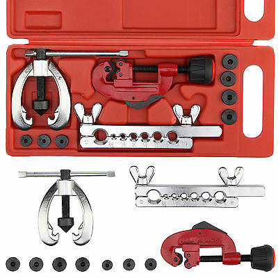 Copper Brake Fuel Pipe Repair Double Flaring Dies Tool Set Clamp Kit Tube Cutter