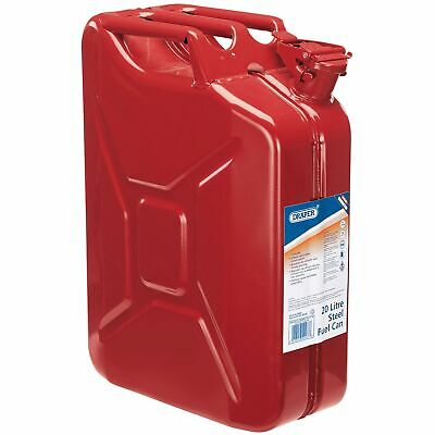 Draper 20 Litre Red Steel Car Mechanic/Garage Pouring Fuel/Petrol Can - 54467