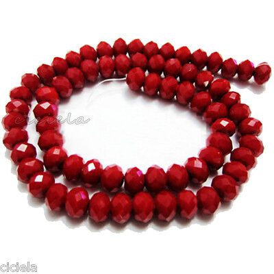 Wholesale 50Pcs Opaque Red Faceted Crystal Rondelle Loose Spacer Beads 6 x 8mm