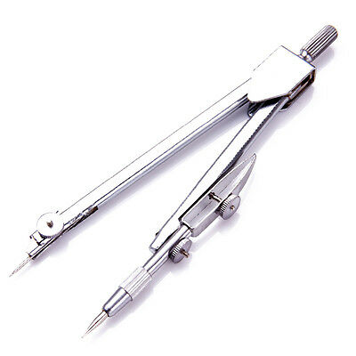 School Stationery Drawing Tool Silver Tone Metal Drafting Compasses Set CY