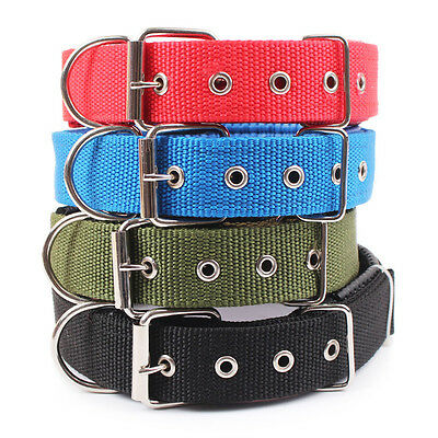New Adjustable Neck Strap Nylon Leather Pet Cat Dog Puppy Collar Buckle Padded