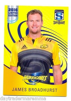 2016 Investec Super Rugby Limited Edition 14/25 James Broadhurst - Hurricanes