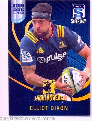 2016 Investec Super Rugby Limited Edition 22/25 Elliot Dixon - Highlanders