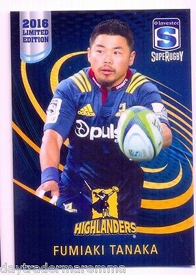 2016 Investec Super Rugby Limited Edition 24/25 Fumiaki Tanaka - Highlanders