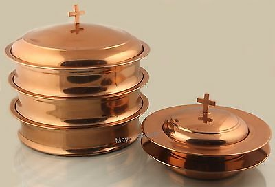 Coppertone - 3 Communion Tray Set with Lid  2 Bread Plate with Lid