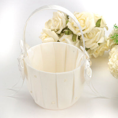 Ivory Satin Bowknot Diamante Pearl Flower Girl Basket Wedding Ceremony Party NEW