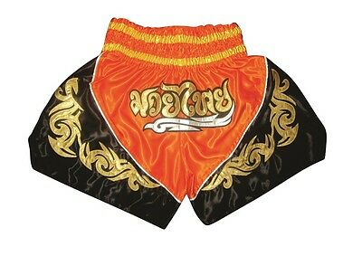 Muay Thai Shorts, Thai-Kickbox Hose,Muay Thai Pants NEU 100% Satin, orange Gr.M