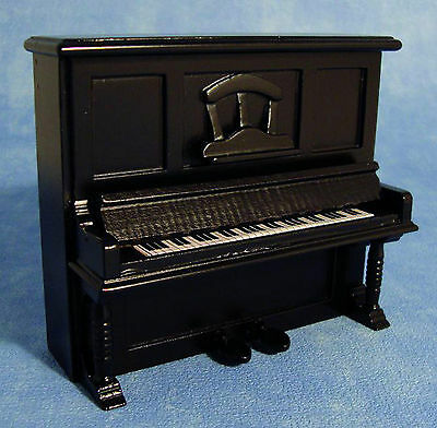 1:12 Scale Black Wooden Upright Piano Dolls House Miniature Instrument 1158