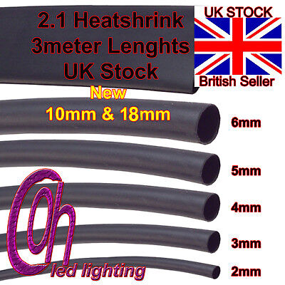 3Meter Length Various Sizes 2.1 Black Heat Shrink Tube Sleeving Wire Wrap