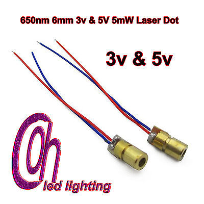 650nm 6mm 3v & 5V 5mW Laser Dot Diode Module Head With Red Dot UK Stock