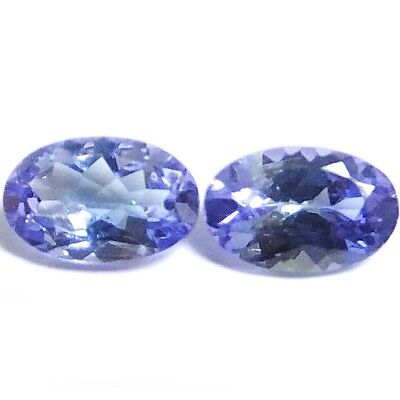 Natural Lovely Violet Blue Tanzanite Loose Gemstone  (Pair) Oval-Cut