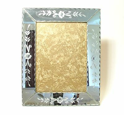 1940's-50's French Cut Class Decorated Mirror Photo Frame   Original   24x29cms