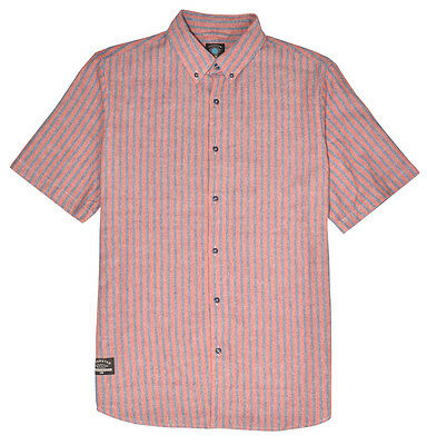 Fourstar Vertigo Men's short-sleeved red striped shirt - Large