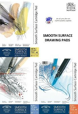Winsor & Newton SMOOTH SURFACE CARTRIDGE Sketch pad 130/150/220gsm gummed/spiral