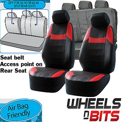UNIVERSAL BLACK Red PVC Leather Look Car Seat Covers Heavy Duty Set Zippers