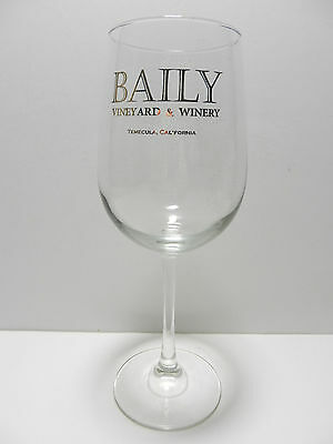 Baily Vineyard & Winery Gold Script Stemmed Wine Glass Temucla California