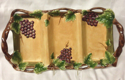 """Pacific Rim Sonoma Handled 3 Section Relish Tray 15 3/4"""" Embossed Grapes Leaves"""