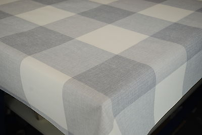 Maxine Grey Check Linen Effect Vinyl Wipe Clean Pvc Tablecloth