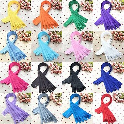 Wholesale 5/10/50/100pcs Lots Color 16In Nylon Coil Zippers Tailor Sewing Tools
