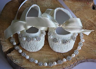 Soft Baby Girl White Shoes Rhinestone Headband Set Christening Wedding Laces