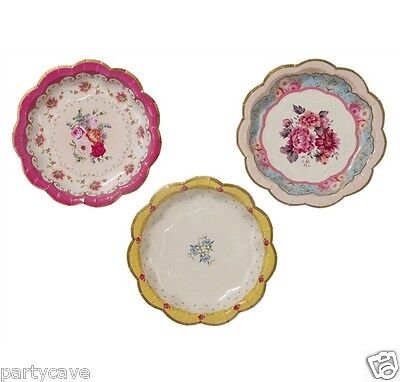 Truly Scrumptious Alice In Wonderland Vintage Floral Paper Plates Tea Party 12